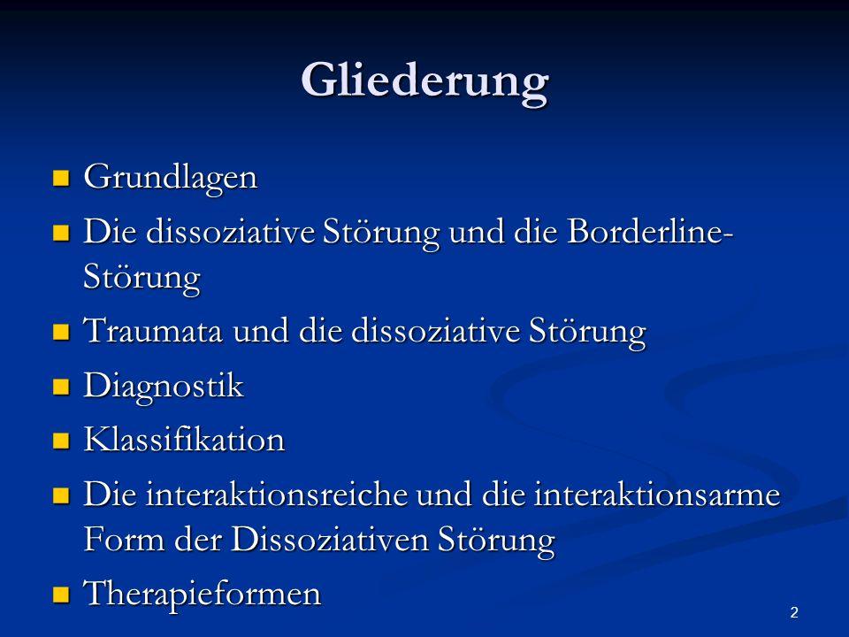 2 Gliederung Grundlagen Grundlagen Die dissoziative Störung und die Borderline- Störung Die dissoziative Störung und die Borderline- Störung Traumata