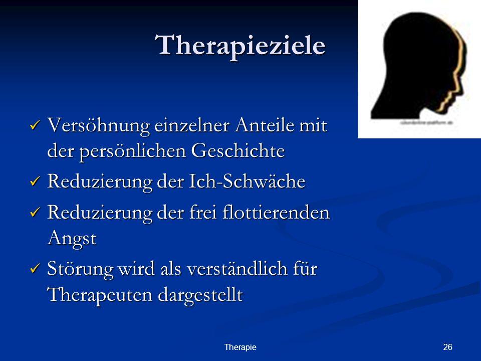 26Therapie Therapieziele Versöhnung einzelner Anteile mit der persönlichen Geschichte Versöhnung einzelner Anteile mit der persönlichen Geschichte Red