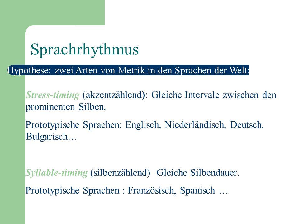 Prominenz und Sprachrhythmus Die Kombination von Prominenzdistinktionen: Sprachrhythmus Der Rhythmus is sprachspezifisch