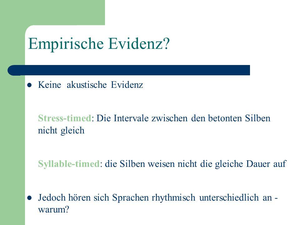 Stress-timing (akzentzählend): Gleiche Intervale zwischen den prominenten Silben. Prototypische Sprachen: Englisch, Niederländisch, Deutsch, Bulgarisc