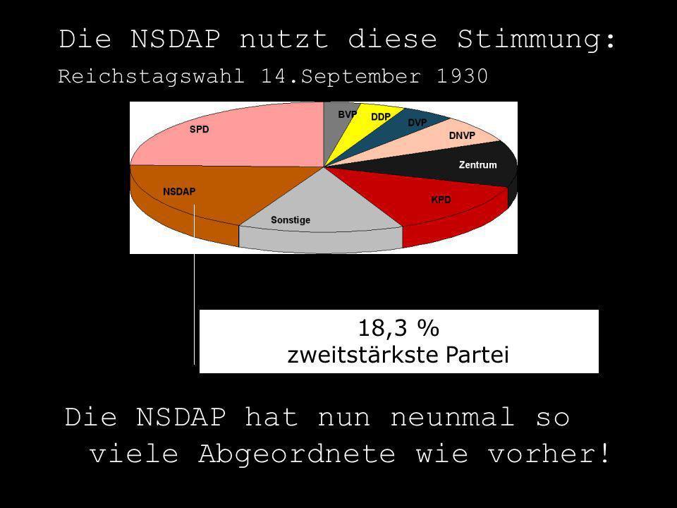 Die NSDAP nutzt diese Stimmung: Reichstagswahl 14.September 1930 18,3 % zweitstärkste Partei Die NSDAP hat nun neunmal so viele Abgeordnete wie vorher
