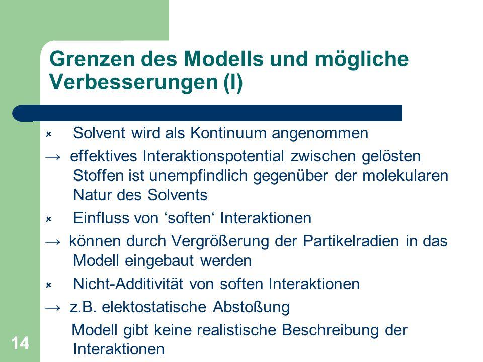 14 Grenzen des Modells und mögliche Verbesserungen (I) Solvent wird als Kontinuum angenommen effektives Interaktionspotential zwischen gelösten Stoffe