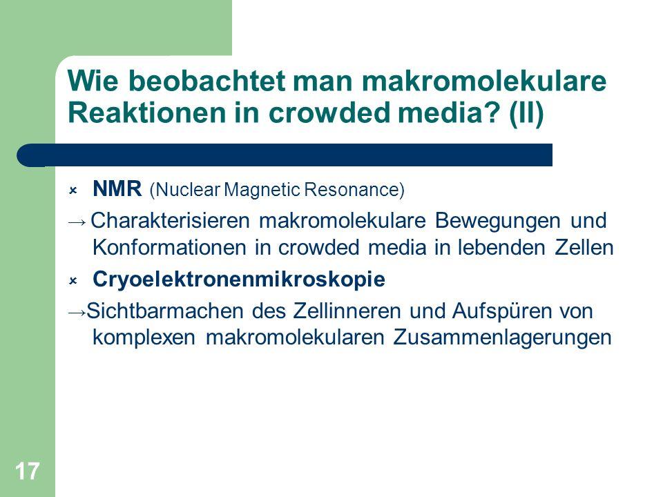 17 Wie beobachtet man makromolekulare Reaktionen in crowded media? (II) NMR (Nuclear Magnetic Resonance) Charakterisieren makromolekulare Bewegungen u