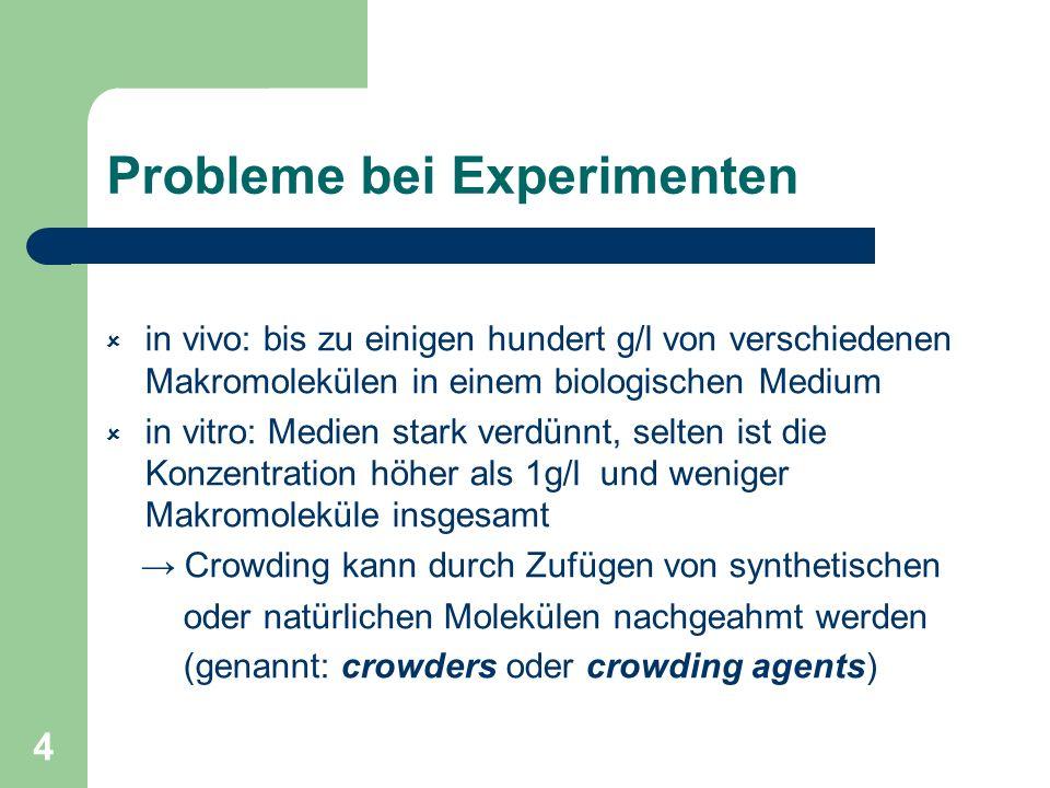 4 Probleme bei Experimenten in vivo: bis zu einigen hundert g/l von verschiedenen Makromolekülen in einem biologischen Medium in vitro: Medien stark v