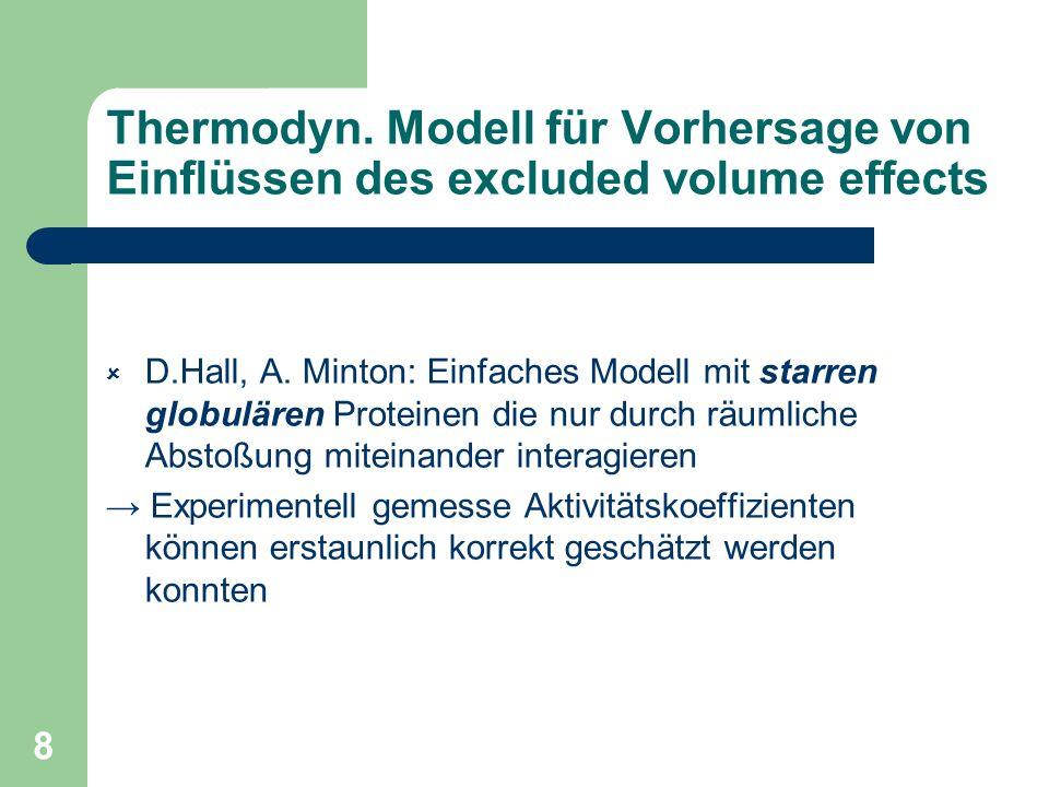 8 Thermodyn. Modell für Vorhersage von Einflüssen des excluded volume effects D.Hall, A. Minton: Einfaches Modell mit starren globulären Proteinen die