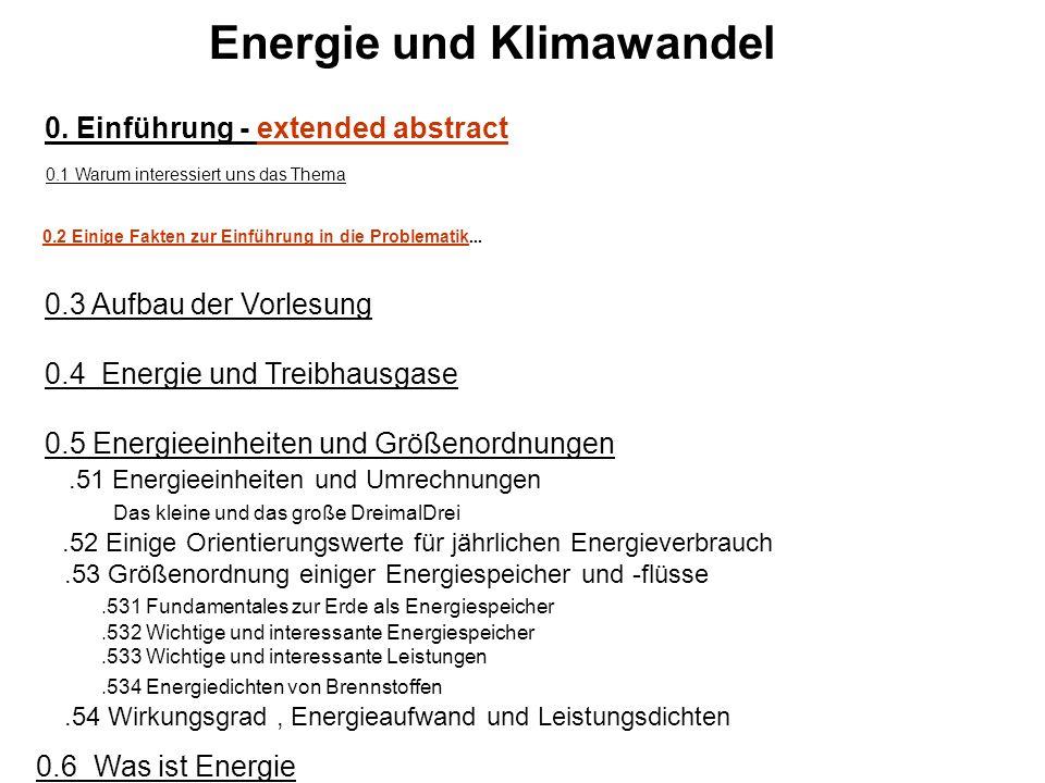 Energie und Klimawandel 0. Einführung - extended abstract 0.1 Warum interessiert uns das Thema 0.2 Einige Fakten zur Einführung in die Problematik...