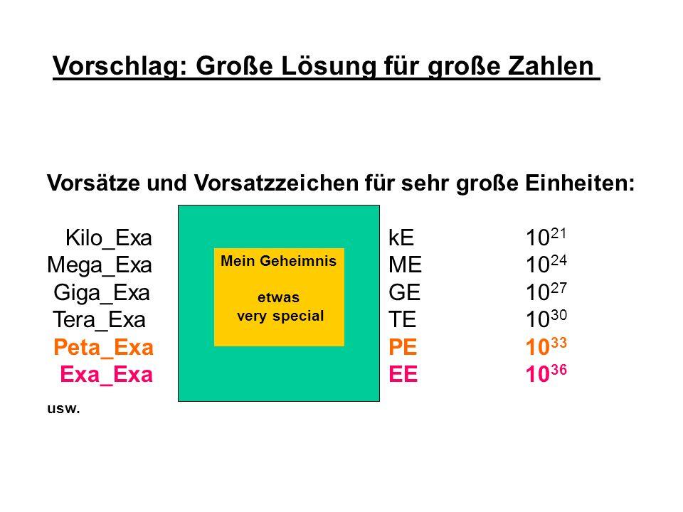 Vorschlag: Große Lösung für große Zahlen Vorsätze und Vorsatzzeichen für sehr große Einheiten: [ etwas very special ] Kilo_ExaKexa [ K x ]kE10 21 Mega
