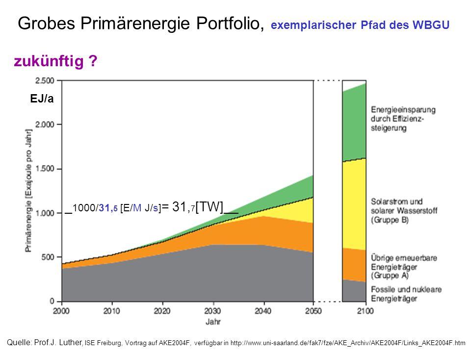 Grobes Primärenergie Portfolio, exemplarischer Pfad des WBGU Quelle: Prof.J. Luther, ISE Freiburg, Vortrag auf AKE2004F, verfügbar in http://www.uni-s