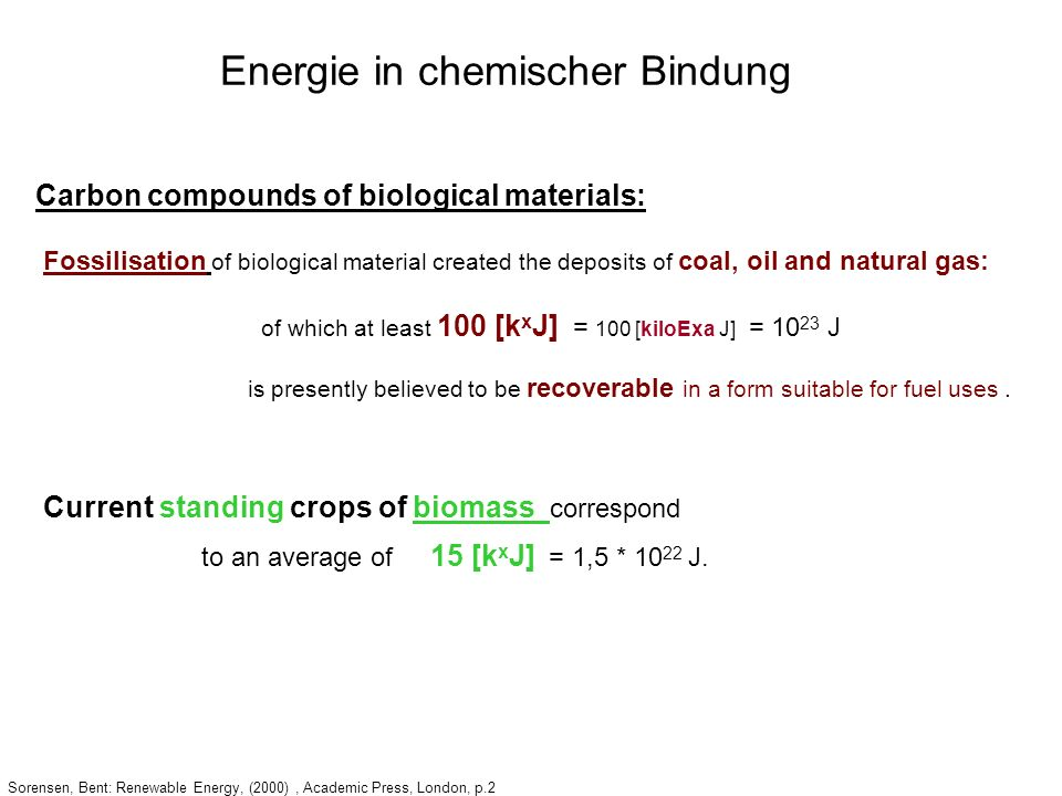 Sorensen, Bent: Renewable Energy, (2000), Academic Press, London, p.2 Carbon compounds of biological materials: Fossilisation of biological material c