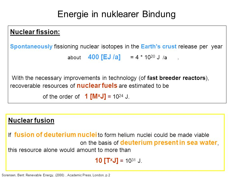 Sorensen, Bent: Renewable Energy, (2000), Academic Press, London, p.2 Nuclear fission: Spontaneously fissioning nuclear isotopes in the Earth's crust