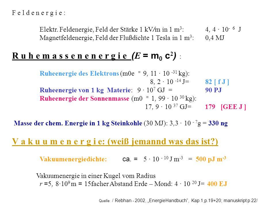 Quelle: / Rebhan - 2002, EnergieHandbuch, Kap.1,p.19+20; manuskript p.22/ F e l d e n e r g i e : Elektr. Feldenergie, Feld der Stärke 1 kV / m in 1 m