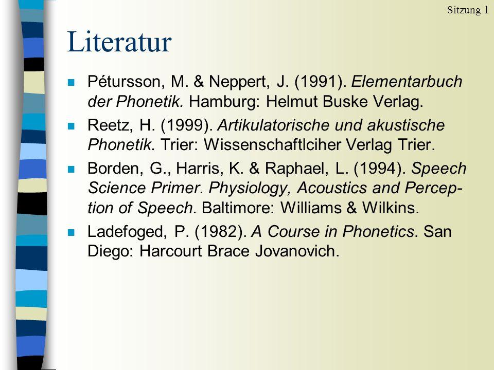 Literatur n Pétursson, M. & Neppert, J. (1991). Elementarbuch der Phonetik. Hamburg: Helmut Buske Verlag. n Reetz, H. (1999). Artikulatorische und aku