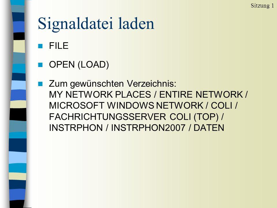 Signaldatei laden n FILE n OPEN (LOAD) n Zum gewünschten Verzeichnis: MY NETWORK PLACES / ENTIRE NETWORK / MICROSOFT WINDOWS NETWORK / COLI / FACHRICHTUNGSSERVER COLI (TOP) / INSTRPHON / INSTRPHON2007 / DATEN Sitzung 1