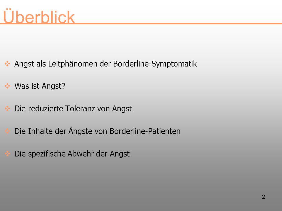 3 Angst als Leitphänomen der Borderline- Symtomatik Kernberg (1975) stellt generalisierte Ängste und Polyphobie an den Beginn seiner Beschreibung der Borderline-Symptomatik Hoch und Polatik (1949) beschreiben eine Symptotrias von Pan- Angst, Pan-Neurose und Pan-Sexualität Leichsenring (1996) findet in einer Faktoranalyse generalisierte Angst und Polyphobie als einen von vier Faktoren, die die Symptomatik der Borderline-Patienten charakterisieren