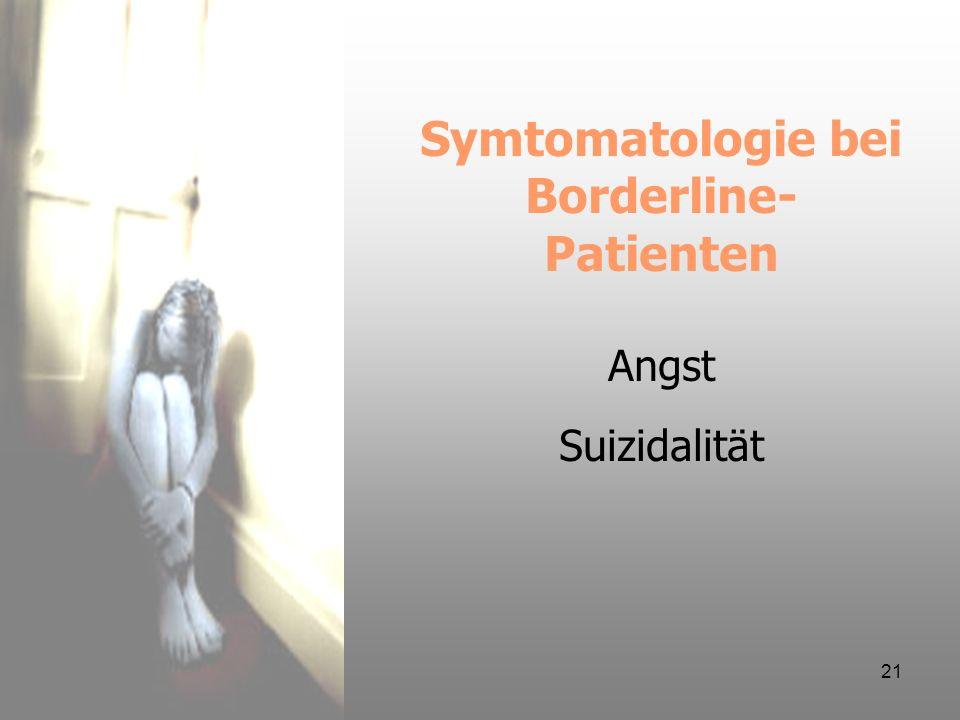 21 Symtomatologie bei Borderline- Patienten Angst Suizidalität