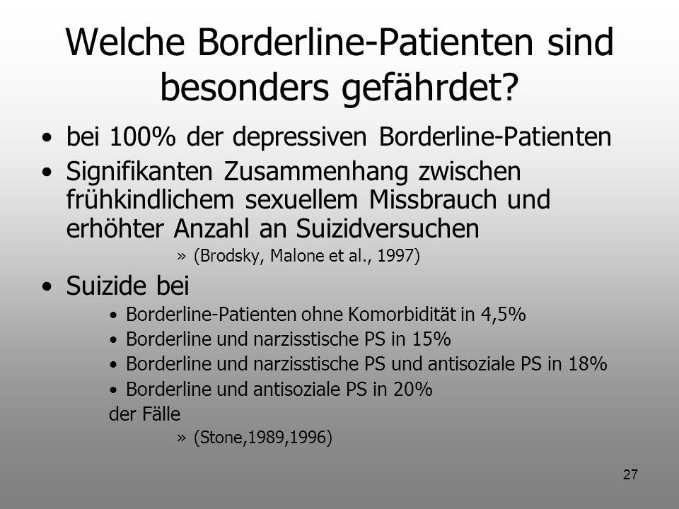27 Welche Borderline-Patienten sind besonders gefährdet? bei 100% der depressiven Borderline-Patienten Signifikanten Zusammenhang zwischen frühkindlic