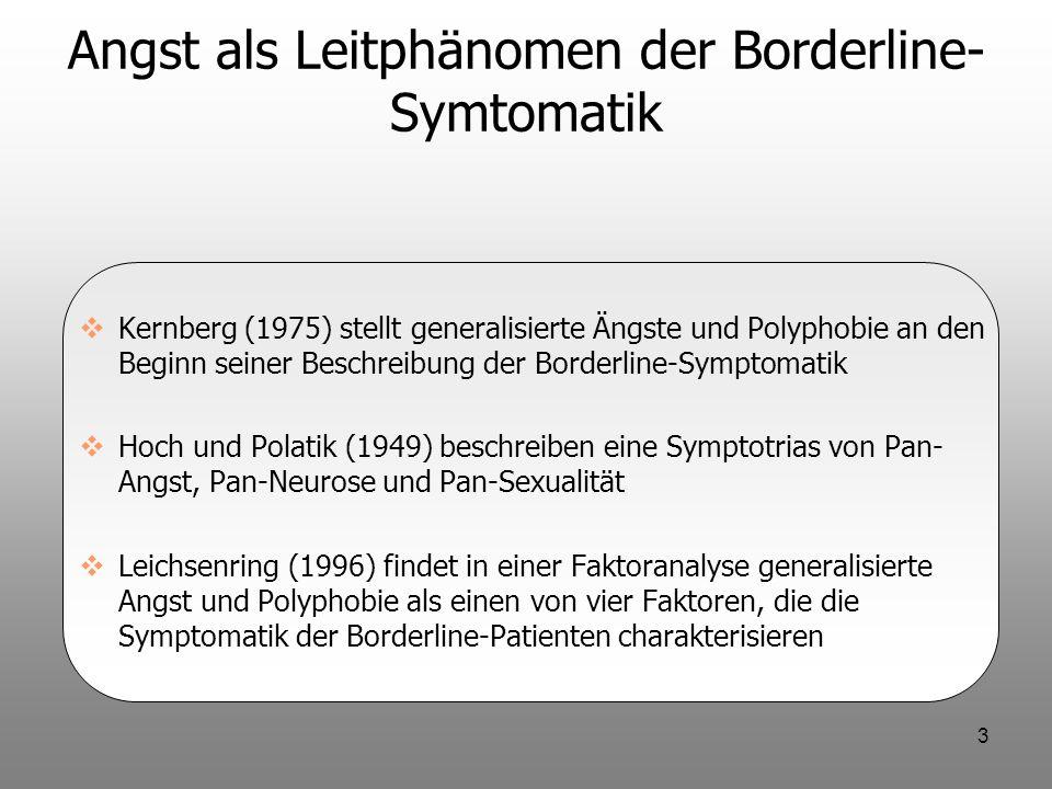 4 Angst als Leitphänomen der Borderline- Symptomatik In DSM-IV werden Ängste als durchgehende Leitsymptomatik kaum erwähnt Borderline-Syndrom wird in DSM-IV als Persönlichkeitsstörung (Achse II) und nicht als Syndrom (Achse I: Generalisierte Angststörung) konzipiert Angstzustände bei Borderline-Patienten sind eindeutig zeitlich limitiert.