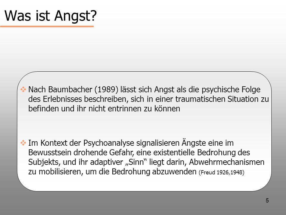 5 Was ist Angst? Nach Baumbacher (1989) lässt sich Angst als die psychische Folge des Erlebnisses beschreiben, sich in einer traumatischen Situation z