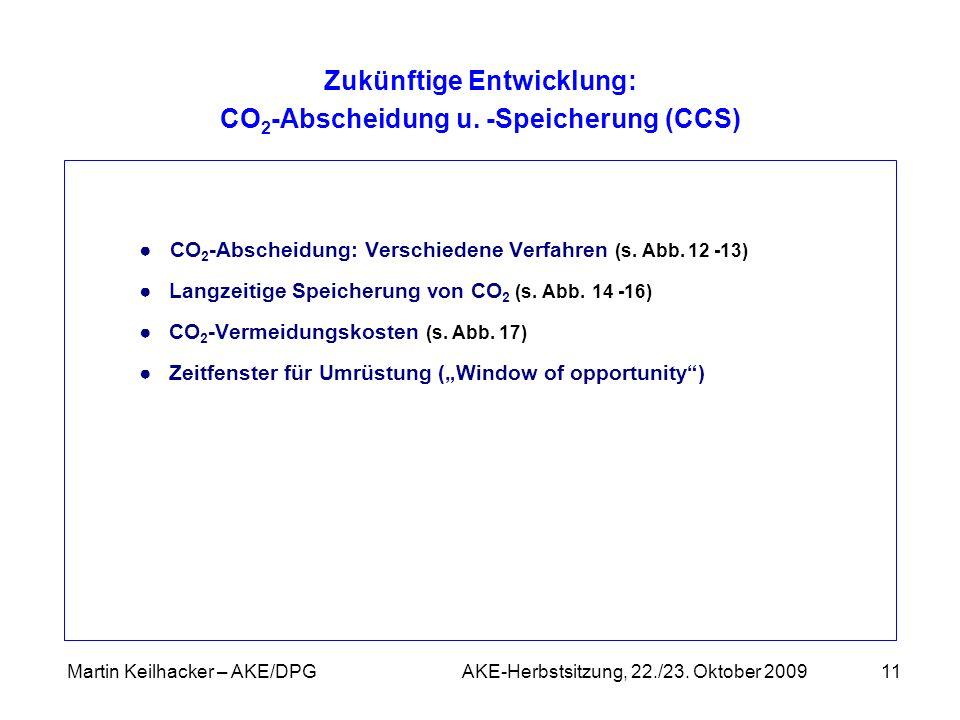 Martin Keilhacker – AKE/DPG AKE-Herbstsitzung, 22./23. Oktober 200911 CO 2 -Abscheidung: Verschiedene Verfahren (s. Abb. 12 -13) Langzeitige Speicheru