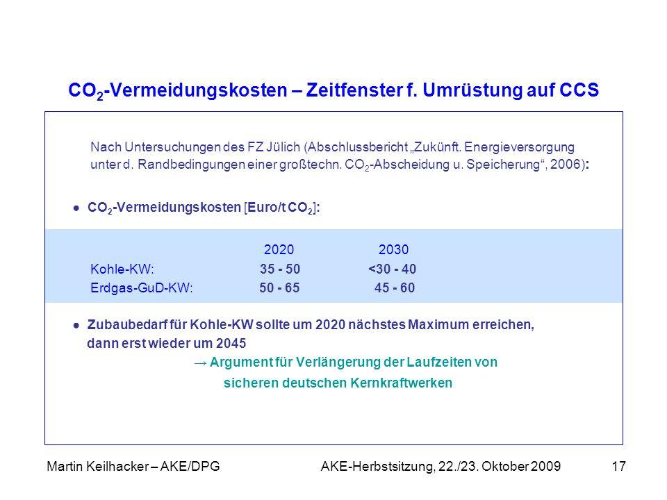 Martin Keilhacker – AKE/DPG AKE-Herbstsitzung, 22./23. Oktober 200917 CO 2 -Vermeidungskosten – Zeitfenster f. Umrüstung auf CCS Nach Untersuchungen d
