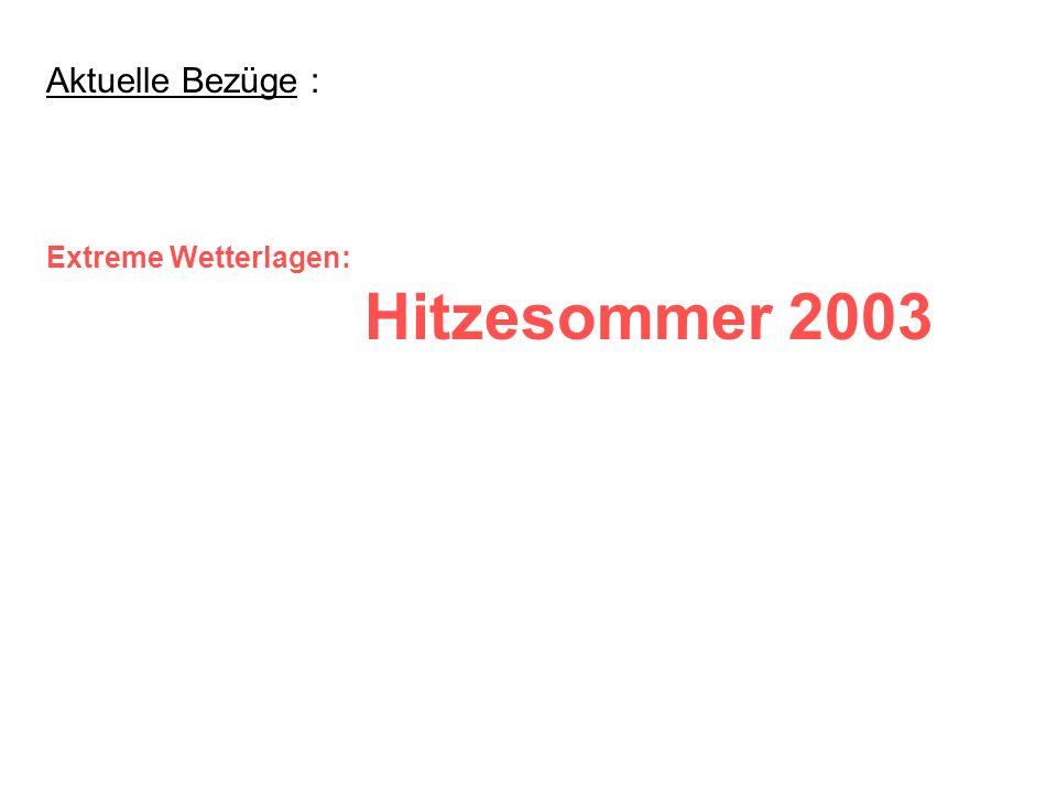 Oberes Bild: Sommertemperaturen (Juni-August) im Schweizer Mittelland gemäß Beobachtungen ( 1864 - 2002 + 2003 ) Mittleres Bild: Klimasimulationen für gegenwärtige Klimabedingungen (1961-1990) (Bem.: es handelt sich wohl tatsächlich nur um Simulationen, denn die Einzeljahre finden sich nicht im oberen Bild) Unteres Bild: Klimasimulation 2071-2100 AD für zukünftige Klimabedingungen (CO2-Verdopplung) Bemerkungen: Jedes Jahr ist durch eine vertikale Marke dargestellt.