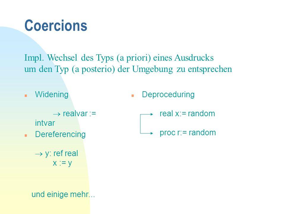 Coercions n Widening realvar := intvar n Dereferencing y: ref real x := y Impl.