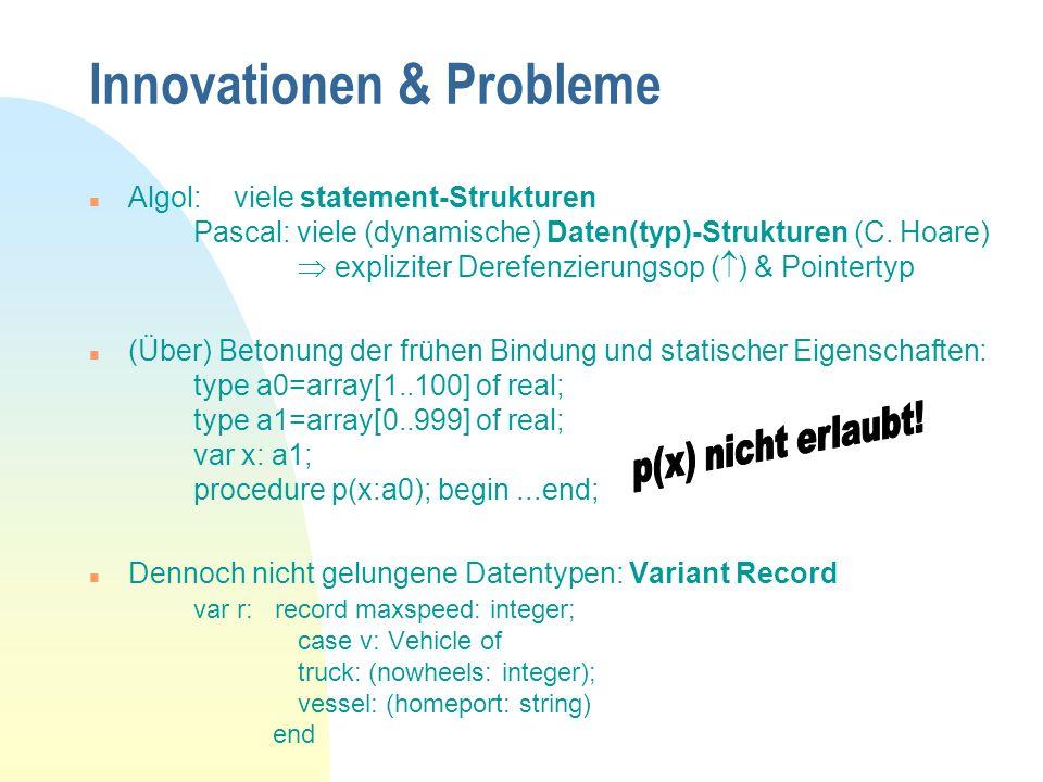 Innovationen & Probleme n Algol: viele statement-Strukturen Pascal: viele (dynamische) Daten(typ)-Strukturen (C.