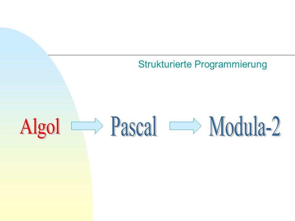 Algol 60 n Erstes systematisches einfaches Typsystem (statisch) n Erstmalig Rekursion als Konzept Eleganter Quicksort-Algorithmus durch Hoare n Stack Allokation n Call-by-name & Call-by-value n Erfindung der Backus-Normal-Form (BNF) Definition der Syntax der Sprache
