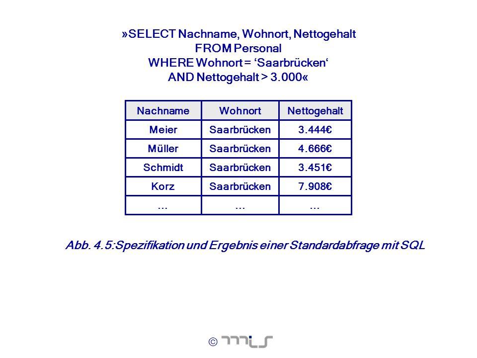 © »SELECT Nachname, Wohnort, Nettogehalt FROM Personal WHERE Wohnort = Saarbrücken AND Nettogehalt > 3.000« NettogehaltWohnortNachname... 7.908Saarbrü