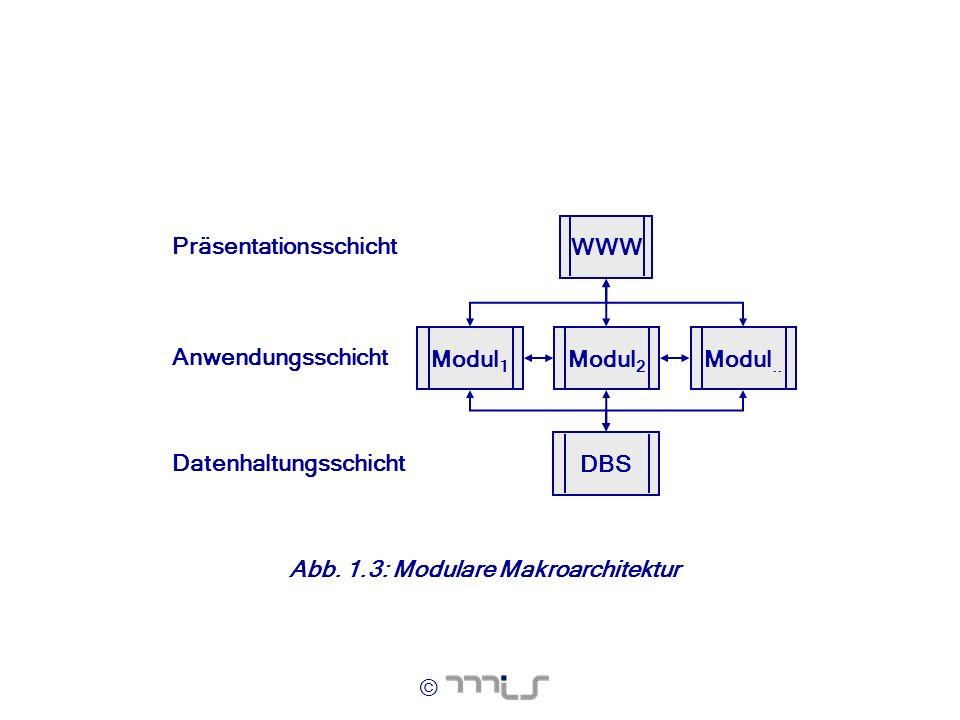 © Abb. 1.3: Modulare Makroarchitektur Modul 1 WWW DBS Modul 2 Modul.. Datenhaltungsschicht Anwendungsschicht Präsentationsschicht