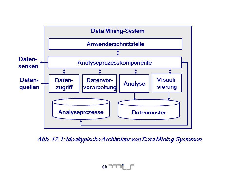 © Abb. 12.1: Idealtypische Architektur von Data Mining-Systemen Data Mining-System Daten- zugriff Datenvor- verarbeitung Analyse Visuali- sierung Anal
