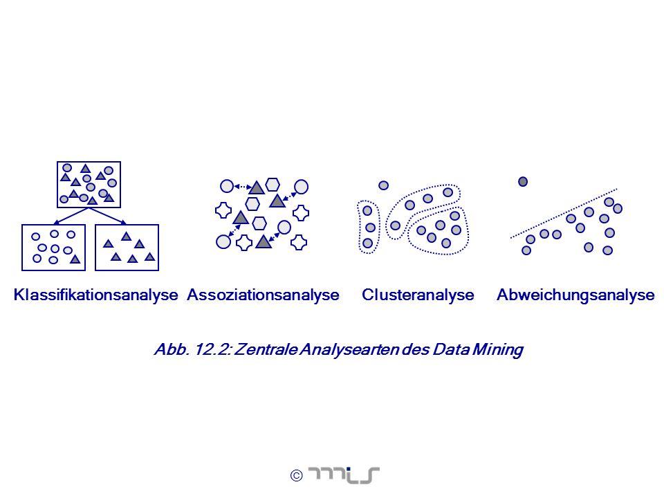 © Clusteranalyse KlassifikationsanalyseAssoziationsanalyseAbweichungsanalyse Abb. 12.2: Zentrale Analysearten des Data Mining