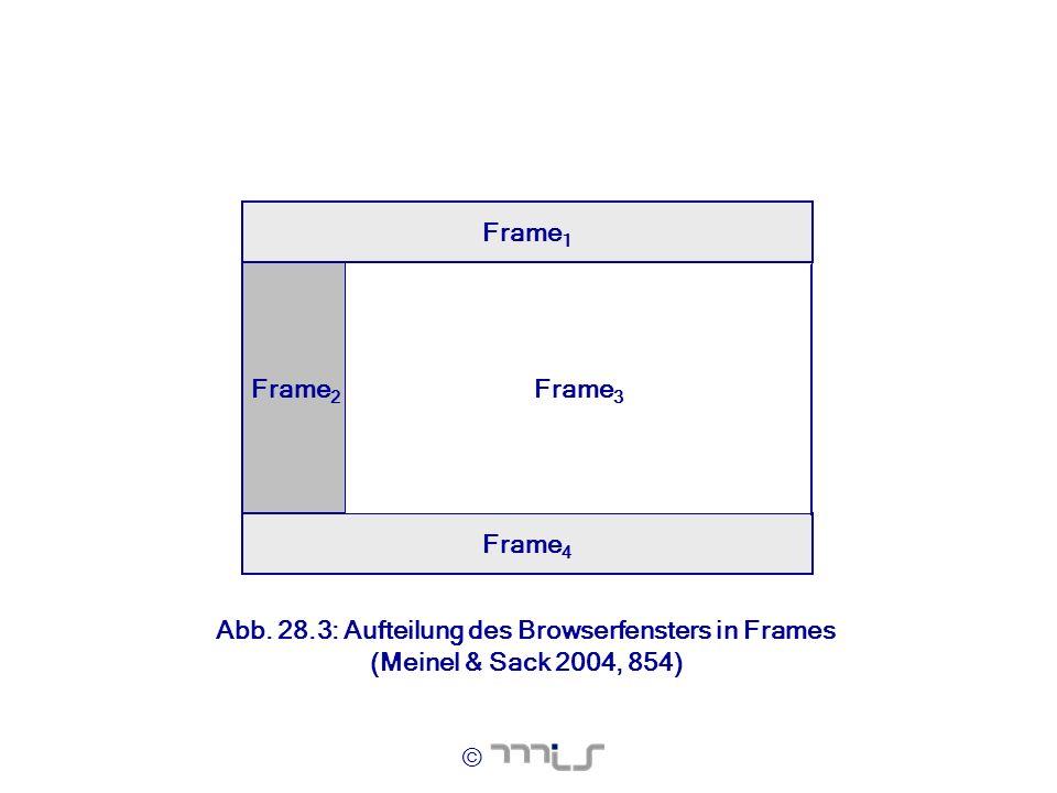 © Frame 2 Frame 4 Frame 1 Frame 3 Abb. 28.3: Aufteilung des Browserfensters in Frames (Meinel & Sack 2004, 854)