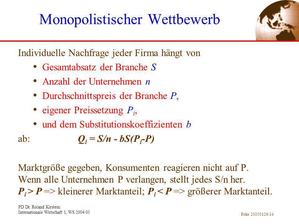 PD Dr. Roland Kirstein: Internationale Wirtschaft 1, WS 2004/05 Folie 20050126-14 Individuelle Nachfrage jeder Firma hängt von Gesamtabsatz der Branch