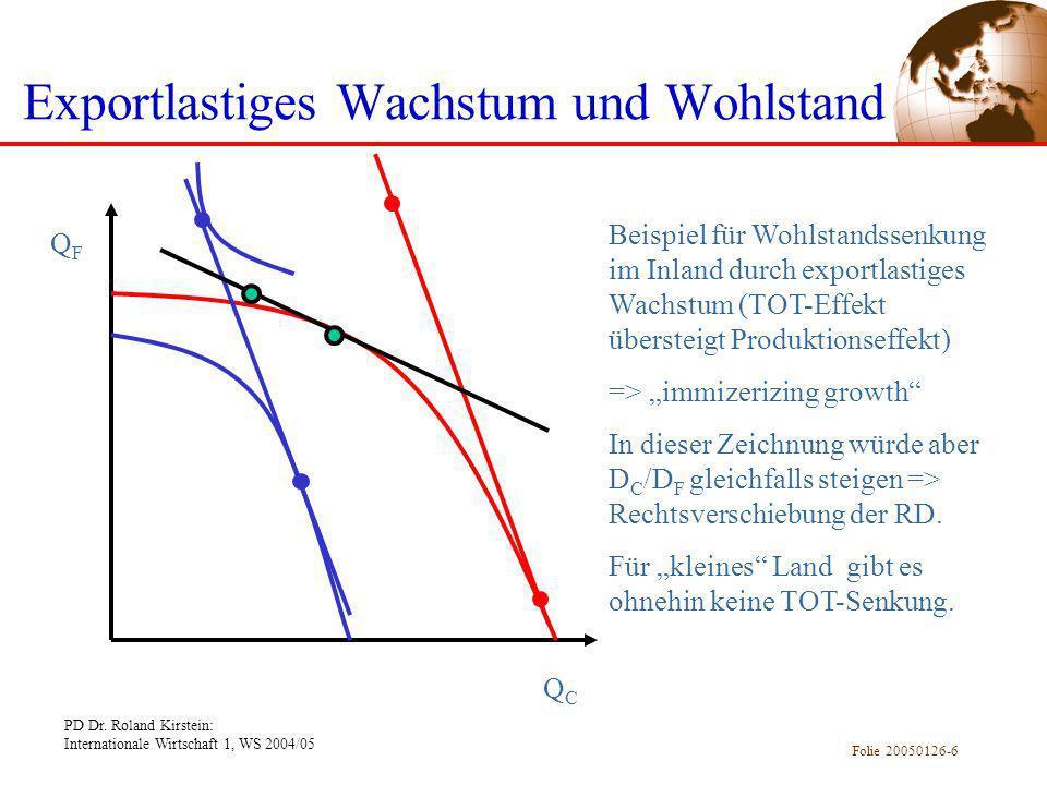 PD Dr. Roland Kirstein: Internationale Wirtschaft 1, WS 2004/05 Folie 20050126-6 Exportlastiges Wachstum und Wohlstand QFQF QCQC Beispiel für Wohlstan