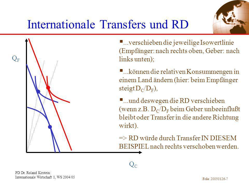 PD Dr. Roland Kirstein: Internationale Wirtschaft 1, WS 2004/05 Folie 20050126-7 Internationale Transfers und RD QFQF QCQC...verschieben die jeweilige