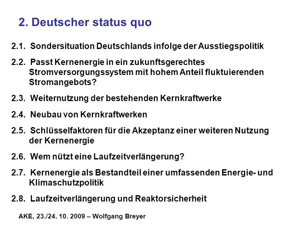 AKE, 23./24.10. 2009 – Wolfgang Breyer 2. Deutscher status quo 2.1.