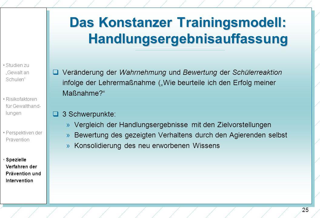26 Das Konstanzer Trainingsmodell: Effektivität des Trainings Vorliegen von detaillierten empirischen Evaluationsstudien als auch zahlreichen Erfahrungsberichten aus der Praxis.