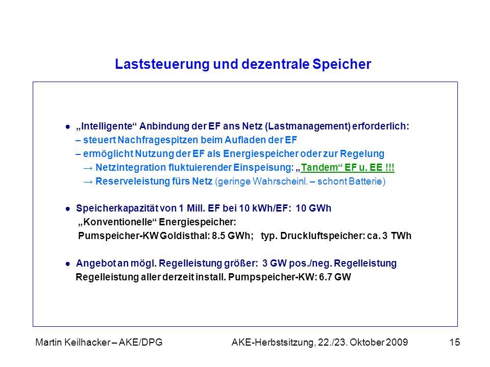 Martin Keilhacker – AKE/DPG AKE-Herbstsitzung, 22./23. Oktober 200915 Laststeuerung und dezentrale Speicher Intelligente Anbindung der EF ans Netz (La