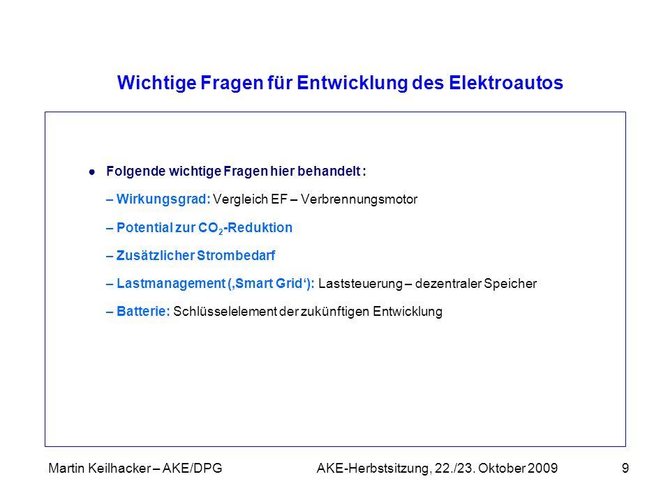 Martin Keilhacker – AKE/DPG AKE-Herbstsitzung, 22./23. Oktober 20099 Wichtige Fragen für Entwicklung des Elektroautos Folgende wichtige Fragen hier be