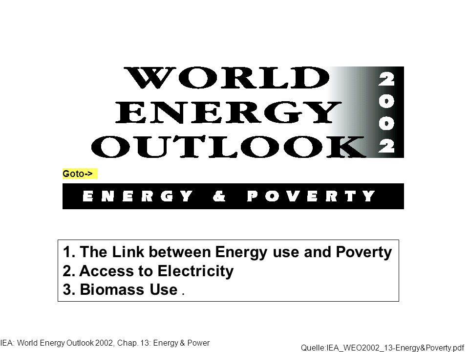 IEA: World Energy Outlook 2002, Chap. 13: Energy & Power 1. The Link between Energy use and Poverty 2. Access to Electricity 3. Biomass Use. Quelle:IE