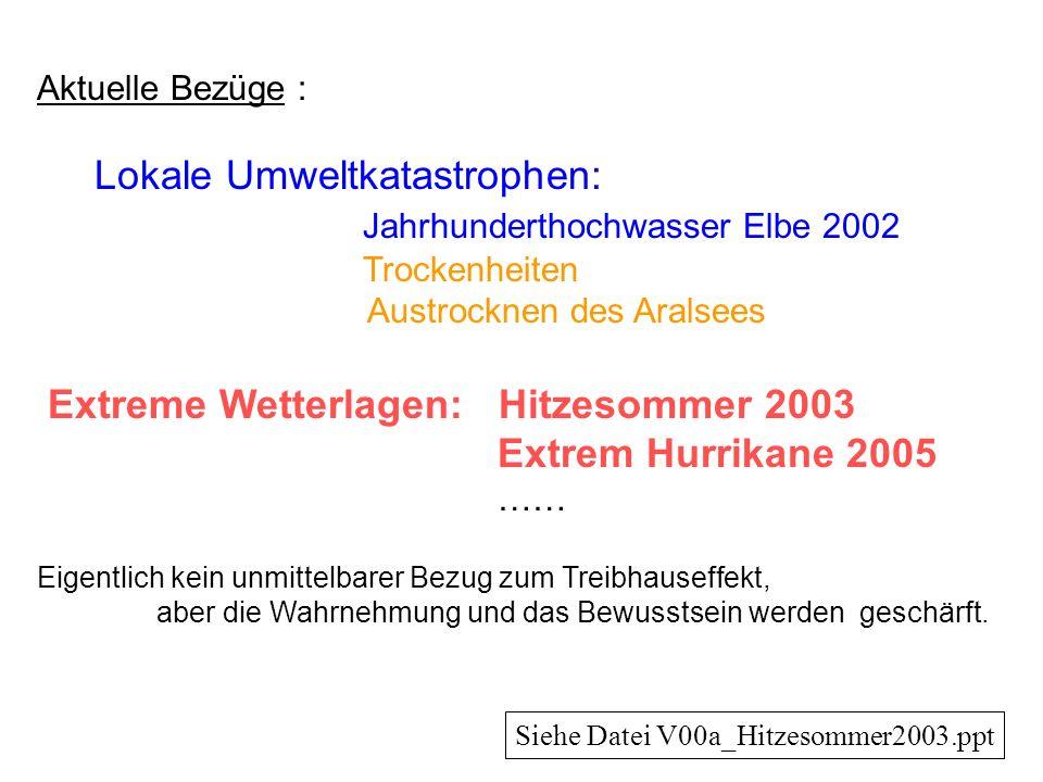 Aktuelle Bezüge : Lokale Umweltkatastrophen: Jahrhunderthochwasser Elbe 2002 Trockenheiten Austrocknen des Aralsees Extreme Wetterlagen: Hitzesommer 2