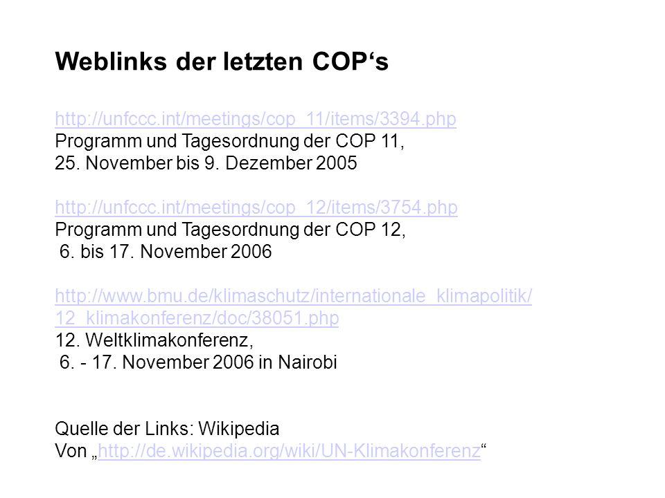 Weblinks der letzten COPs http://unfccc.int/meetings/cop_11/items/3394.php Programm und Tagesordnung der COP 11, 25.