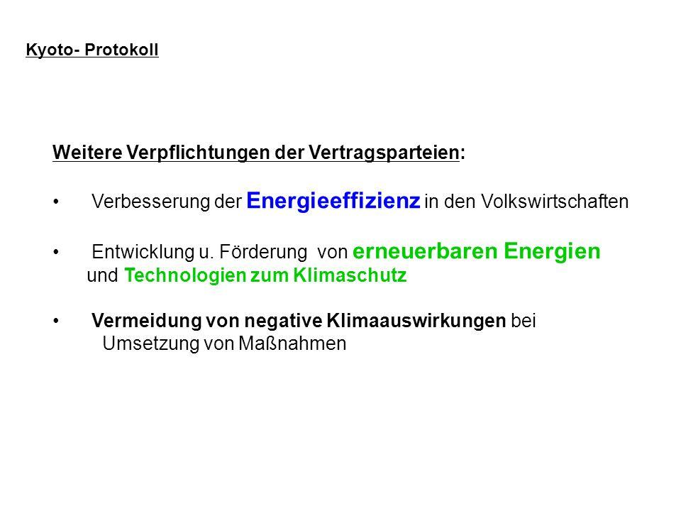 Weitere Verpflichtungen der Vertragsparteien: Verbesserung der Energieeffizienz in den Volkswirtschaften Entwicklung u. Förderung von erneuerbaren Ene
