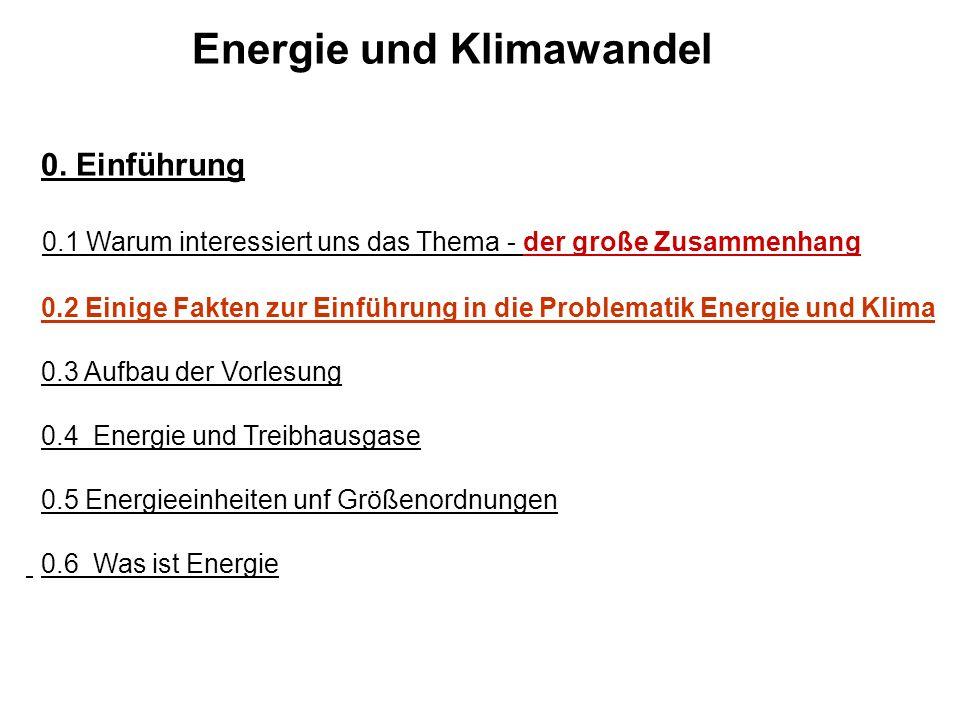 Energie und Klimawandel 0. Einführung 0.1 Warum interessiert uns das Thema - der große Zusammenhang 0.2 Einige Fakten zur Einführung in die Problemati