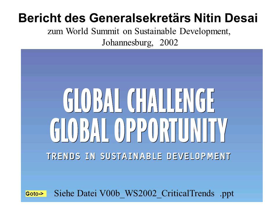 Bericht des Generalsekretärs Nitin Desai zum World Summit on Sustainable Development, Johannesburg, 2002 Siehe Datei V00b_WS2002_CriticalTrends.ppt Go
