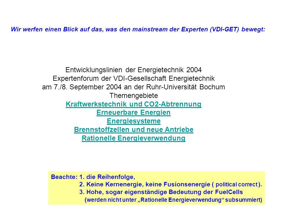 Quellen: /VDI-GET_2004Bochum / = Kongress: Entwicklungslinien der Energietechnik 2004 Expertenforum der VDI-Gesellschaft Energietechnik am 2004_0907 an der Ruhr-Universität Bochum: Insbesondere: / ~ _Ewers/ = Dr.