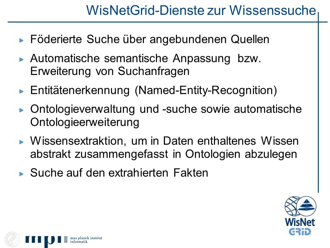 WisNetGrid-Dienste zur Wissenssuche Föderierte Suche über angebundenen Quellen Automatische semantische Anpassung bzw. Erweiterung von Suchanfragen En