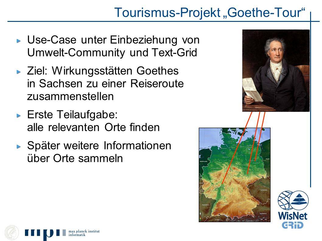 Tourismus-Projekt Goethe-Tour Use-Case unter Einbeziehung von Umwelt-Community und Text-Grid Ziel: Wirkungsstätten Goethes in Sachsen zu einer Reisero