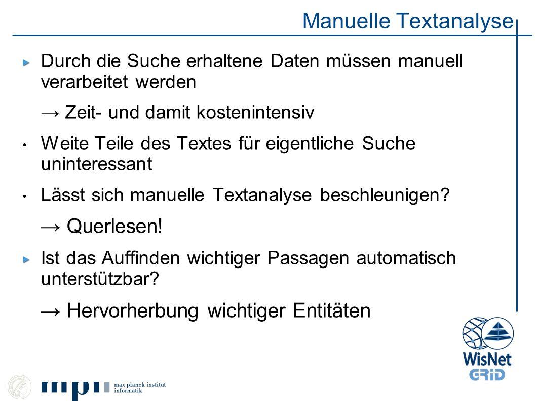 Manuelle Textanalyse Durch die Suche erhaltene Daten müssen manuell verarbeitet werden Zeit- und damit kostenintensiv Weite Teile des Textes für eigen